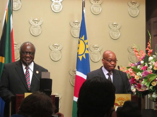 President of Namibia Hifikenpunye Pohamba with South African President Jacob Zuma during a state visit to South Africa on November 6, 2012. The two countries enjoy a shared history of struggle against apartheid and settler-colonialism. by Pan-African News Wire File Photos