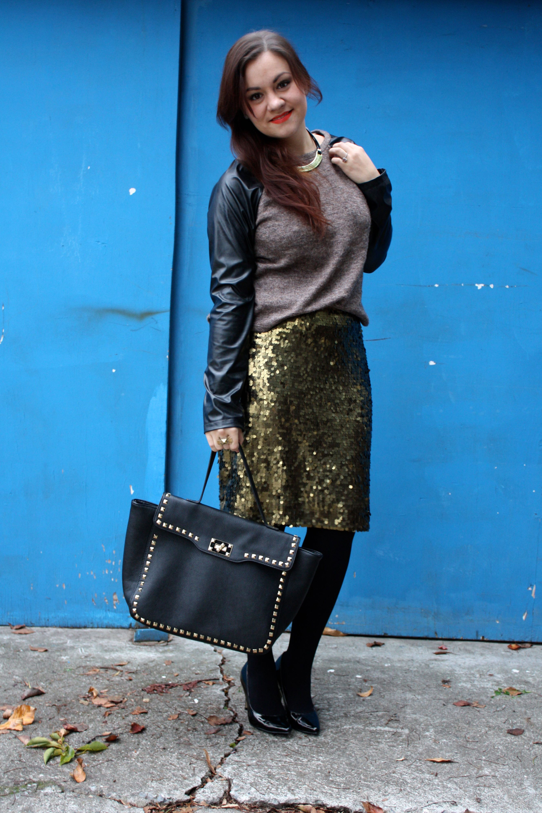 sequin pencil skirt - leather sleeve raglan sweater - studded trim tote - tights - ankle boots04