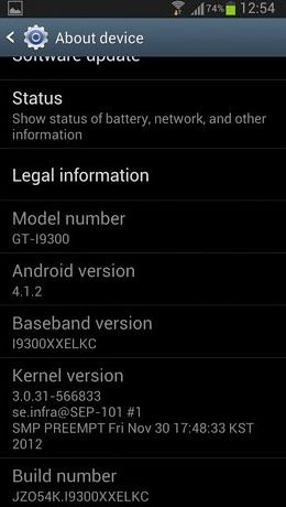 Samsung Galaxy S3 Android 4.1.2