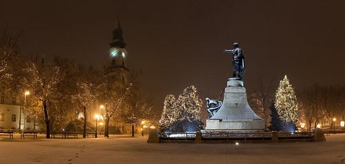 city winter panorama snow night landscape lights nikon long exposure hungary d70 snowing 1855 szobor kecskemét ter kossuth kecskemet nagytemplom nikon1855mmf3556