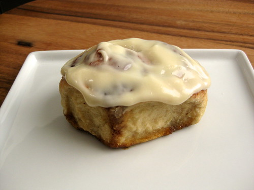 brioche cinnamon bun with cream cheese icing