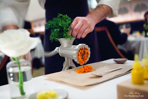 Carrot tartare, tableside