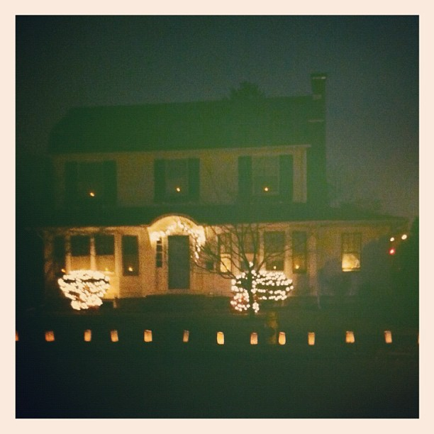 Our house on #LuminariaNight in #bethlehempa