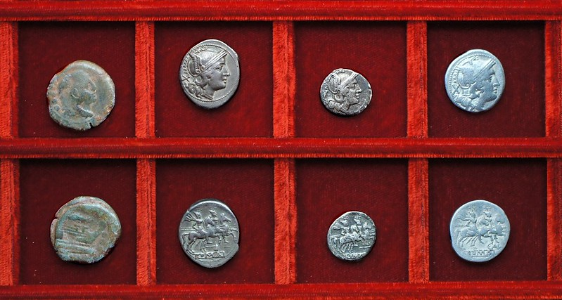 RRC 072 corn-ear quadrans, third series, RRC 73 dolabella silver, RRC 75 C.AL Aelia denarius, Ahala collection, coins of the Roman Republic