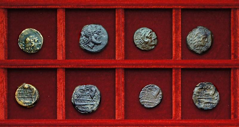 RRC 263 M.METELLVS Caecilia quadrans, RRC 264 C.SERVEILI Servilia bronzes, RRC 265 Q.MAX Fabia quadrans, Ahala collection, coins of the Roman Republic