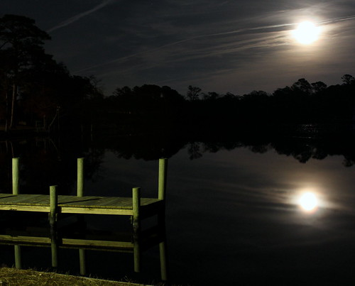 trees reflection water night landscape dock fullmoon bricescreek