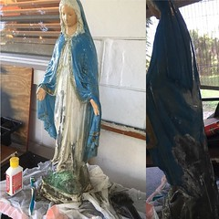 I got a job to take all the old paint off this old #statue of #madonna and re paint it