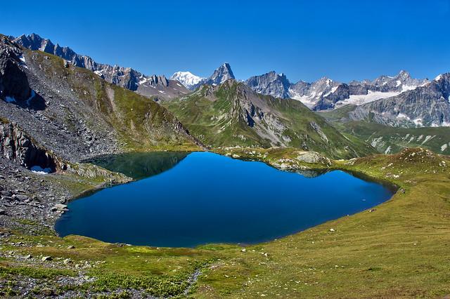 Heart shaped lake. Lac de Fenêtre   and the Mont Blanc Massif. No. 2432.