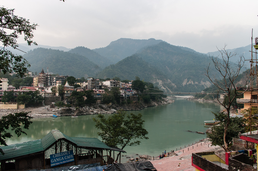 View on Gangus and Laxman Jhula bridge