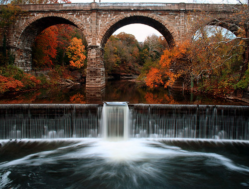 city autumn urban usa color reflection fall philadelphia america waterfall unitedstates pennsylvania pa philly eastfalls wissahickonvalley archbridge stonearch cityofbrotherlylove wissahickoncreek ridgeavenue lincolndrivetrail