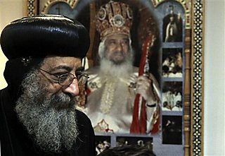 Bishop Tawadros, 60, soon to be Pope Tawadros II  greets well-wishers, not shown, after being named the 118th Coptic Pope in the Wadi Natrun Monastery complex northwest of Cairo, Egypt, Sunday, Nov. 4, 2012. by Pan-African News Wire File Photos