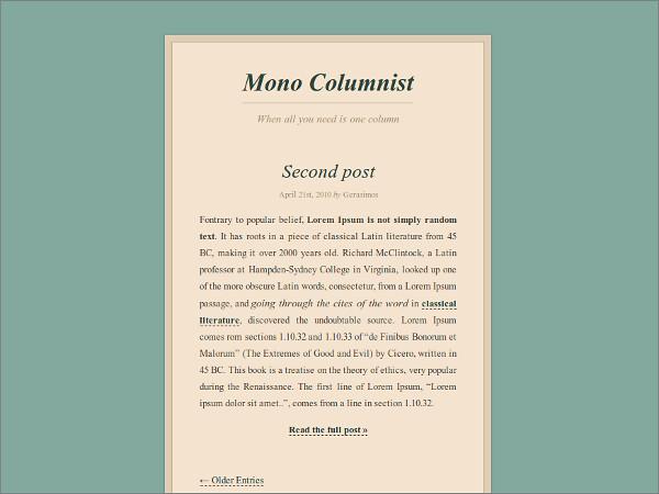 Mono Columnist Free WordPress Theme