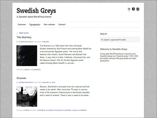 Swedish Greys Free WordPress Theme