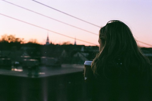 light sunset shadow sun color rooftop coffee vintage dark hair landscape town pretty view starbucks 27paperboats