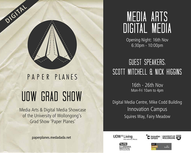 digital paper planes exhibition flyer