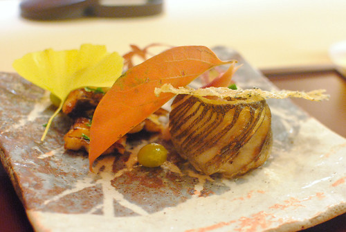 grilled barracuda and unagi, sweet potato, mushrooms
