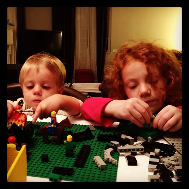 Yeah. The Legos are out again. #lego #siblings #funtimes