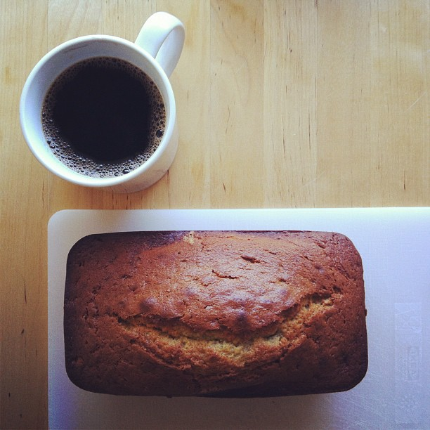 It's a chilly day and I have a napping baby, fresh banana bread, hot coffee and work that I love.