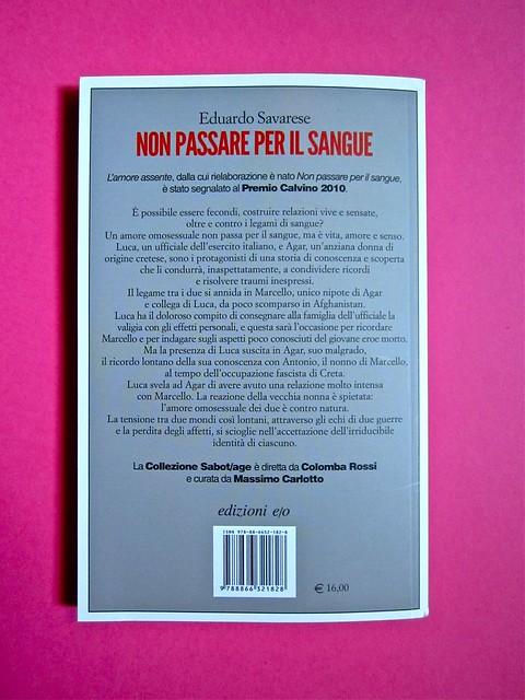 Eduardo Savarese, Non passare per il sangue. edizioni e/o 2012. Grafica di Emanuele Gragnisco; illustrazione di Luca Laurenti. Quarta di copertina (part.), 2