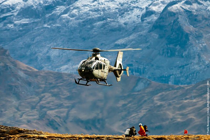 Swiss AF Eurocopter EC635 landing at AXALP