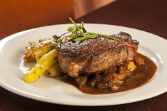 meal, steak, pork chop, rib eye steak, sirloin steak, food, pot roast, dish, cuisine,