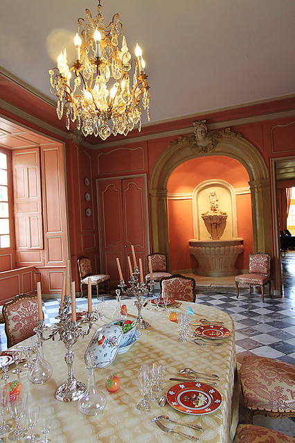 Dining room inside the castle at Chateau de Villandry in the Loire Valley, France