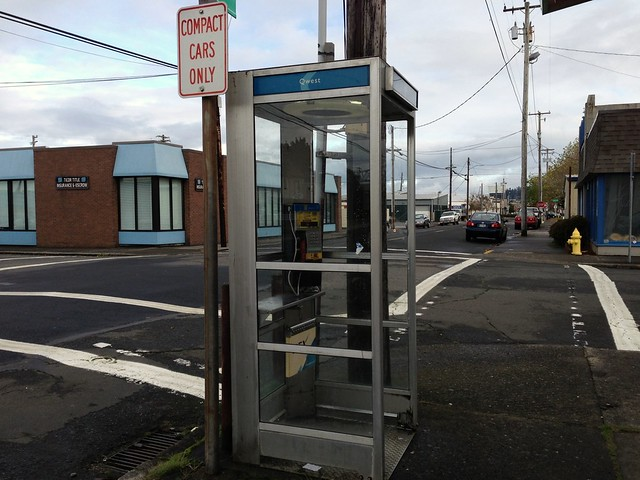 Photo of phone booth and street
