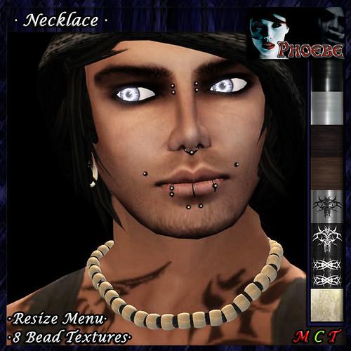 *P* Surfer Man Necklace -8 Bead Textures-