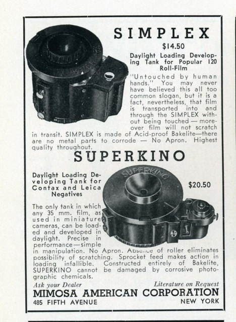 Simplex and Superkino Daylight Loading Developing Tanks 1937