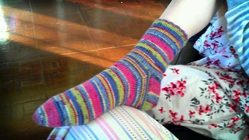 Sideview of First Knitted Sock