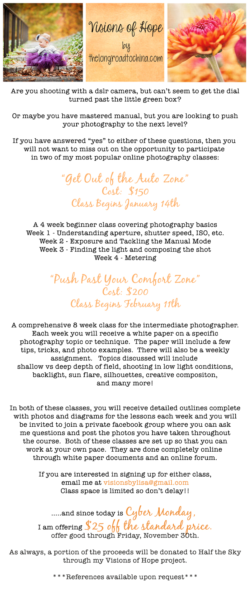 2013 Open Enrollment Photography Classes