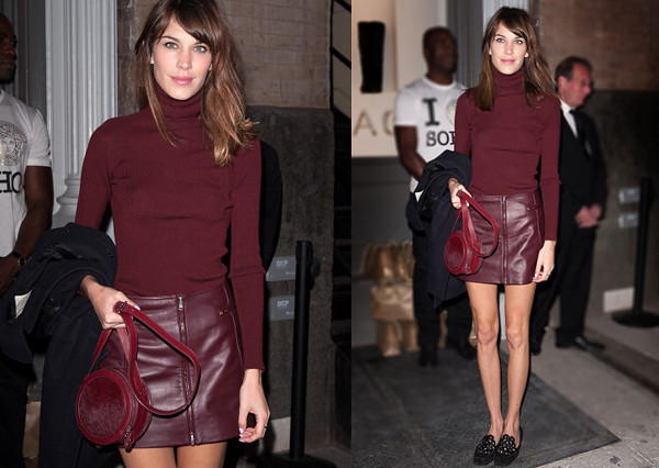 alexa_chung_burgundy_turtleneck_leather_skirt