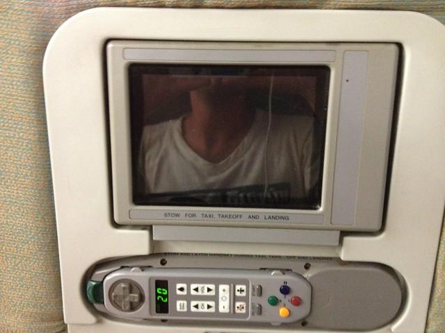 Ecran personnel vieille génération sur SriLankan Airlines