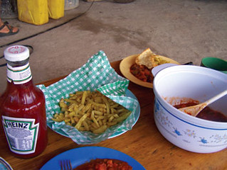 Western fare like Heinz ketchup and french fries are  available to tourists and workers.