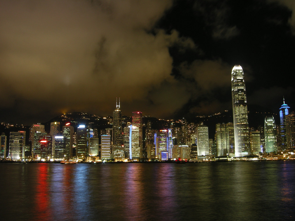 Every night in Hong Kong there is a music and light show. I took this photo across the bay in Kowloon.