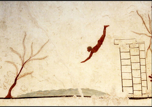 470 BCE, painting on the tomb of a diver