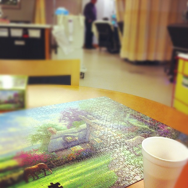 This place is nice for a cancer center (thankfully, I'm a poor judge, not loads of experience on cancer centers). My only complaint is their appalling taste in jigsaw puzzles and the coffee tastes like water that coffee once walked by.