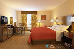 3d Interior Rendering of Hotel Room