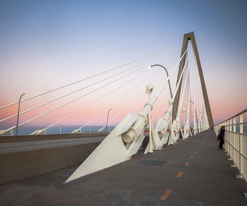 bridge pink blue sunset sky tower fall bicycle architecture modern river evening suspension dusk path contemporary modernism cable mount charleston architect walkway hour cooper pont jogging tension footpath span stay macdonald pleasant fleuve cantilever penumbra