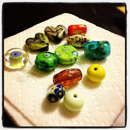 My first ever lampwork beads at my workshop with the super amazing Amy Waldman-Smith.  Lamp working is the best thing ever!