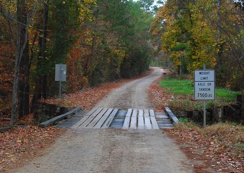 bridge autumn trees fall leaves texas timber moscow foliage single lane pontist