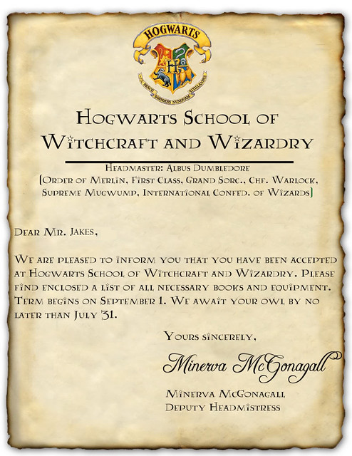 My very own Hogwarts' acceptance letter | Flickr - Photo ...