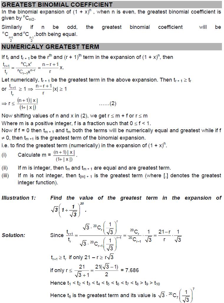 Binomial Theorem - Greatest Binomial Coefficients