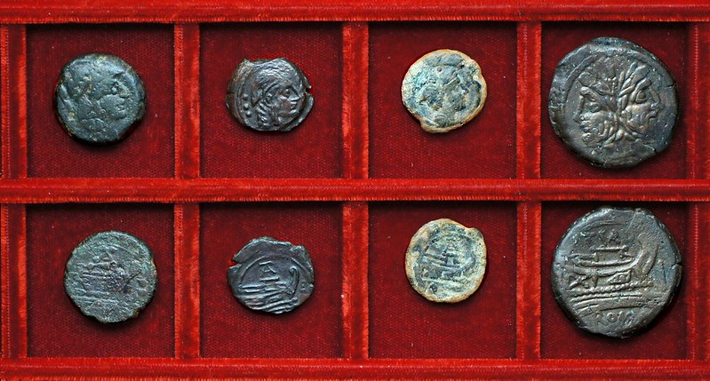 RRC 192 TA or AT bronzes, RRC 193 TVRD Papiria As, Ahala collection, coins of the Roman Republic