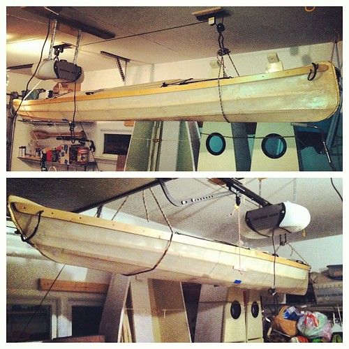 This evening's project, putting sawdust in my eyes via kayak lift installation.
