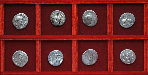 RRC 545 D.TVR Turillia Antony, RRC 546-2 SCARPVS M.ANTO Scarpus Antony, RRC 546-4-6 IMP CAESAR Scarpus Octavian, Ahala collection, coins of the Roman Republic