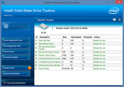 Intel X25-M SMART by SSD Toolbox