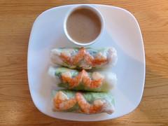Cold rolls: Salad, cucumber, rice, shrimps. Peanut…
