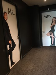 Mr. and Mrs. His and her toilets in a hotel. Brad and Angelina.