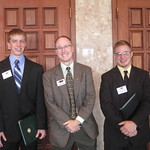 IWU Career Center Director Warren Kistner with IWU students Tim Brinkman and Cameron Blossom --